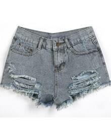 Grey Ripped Pockets Vintage Denim Shorts