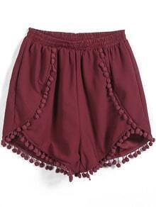 Red Elastic Waist Twisted Ball Embellished Shorts