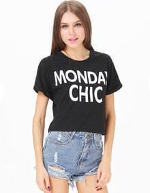 Black Short Sleeve MONDAYCHIC Print Crop T-Shirt