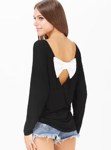 Black Long Sleeve Backless Bow Embellished T-Shirt