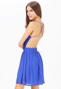 Blue Criss Cross Backless Skater Dress