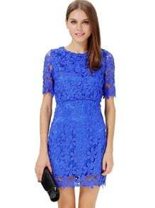 Blue Short Sleeve Hollow Floral Crochet Bodycon Dress