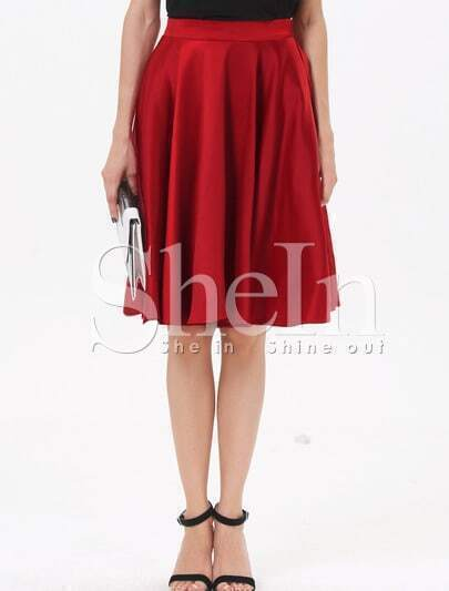 Red High Waist Pleated A Line Skirt