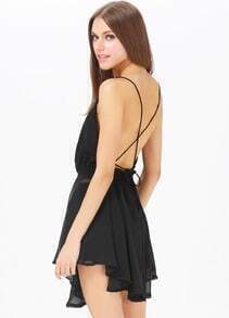 Black Spaghetti Strap Backless Pleated Mini Dress