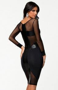 Black Long Sleeve Contrast Mesh Yoke Bodycon Dress