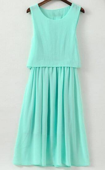 Blue Sleeveless Pleated Chiffon Dress