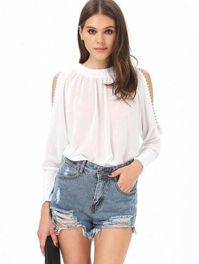 White Long Sleeve Off The Shoulder Buttons Blouse