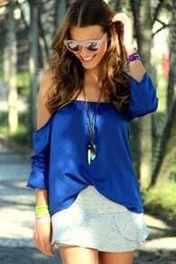 Blue Off The Shoulder Chiffon Blouse