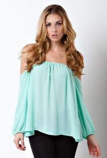 Green Off The Shoulder Chiffon Blouse