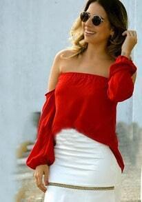 Red Off The Shoulder Chiffon Blouse