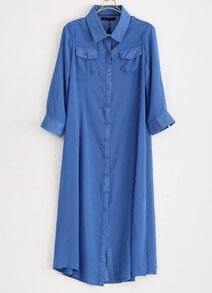 Blue Long Sleeve Chiffon Long Blouse