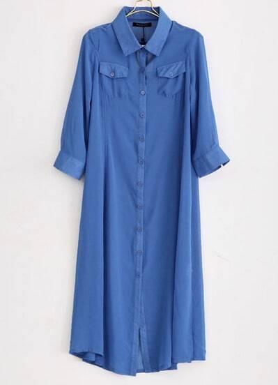 Blue Long Sleeve Chiffon Long Blouse
