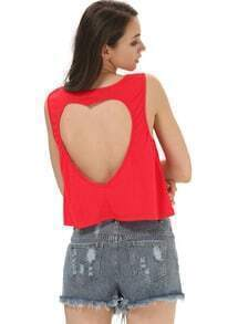 Red Sleeveless Back Heart Cut Short T-shirt