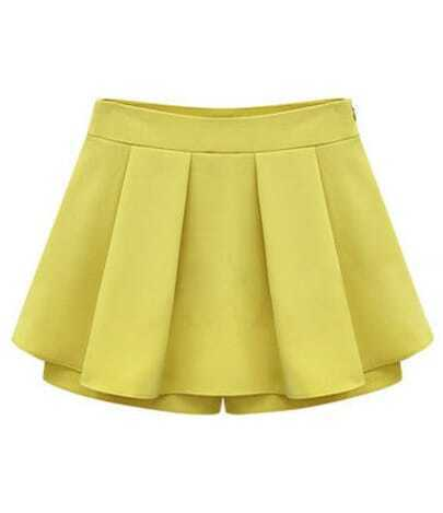 Yellow Zipper Ruffle Pant
