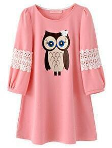 Pink Half Sleeve Owl Pattern Contrast Lace Dress