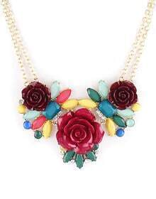 Multi Gemstone Red Flowers Chain Necklace