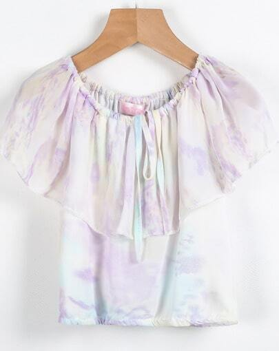 Purple Off the Shoulder Chiffon Vest