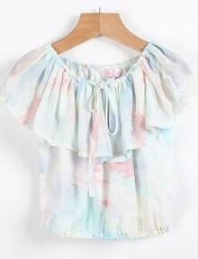 Blue Off the Shoulder Chiffon Vest