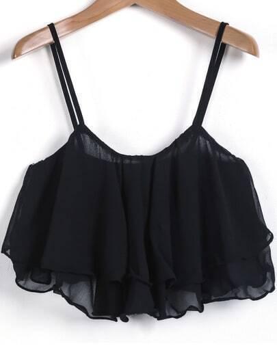 Black Spaghetti Strap Ruffle Chiffon Vest