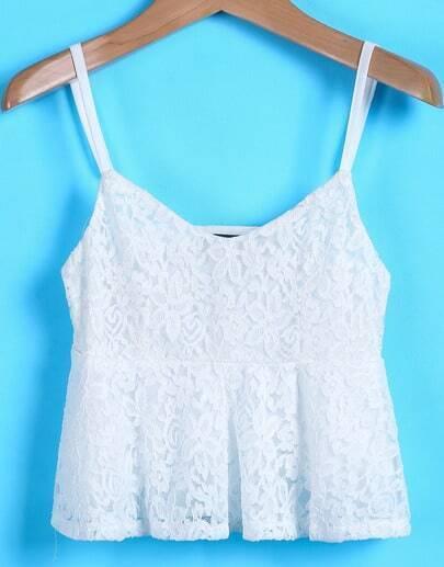 White Spaghetti Strap Crop Lace Vest