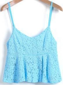 Blue Spaghetti Strap Crop Lace Vest