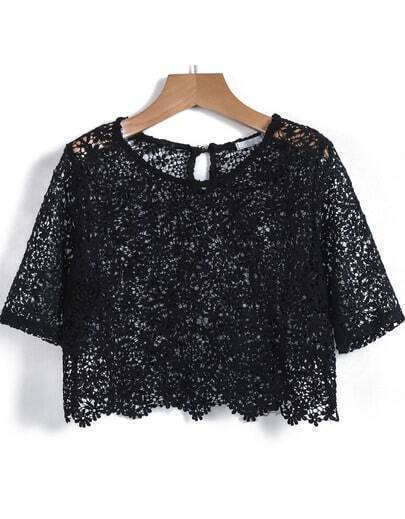 Black Short Sleeve Hollow Lace Crop Vest