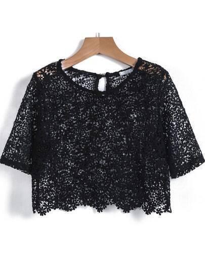 Black Short Sleeve Hollow Lace Crop Vest