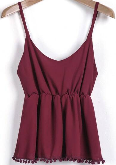 Wine Red Spaghetti Strap Twisted Ball Vest
