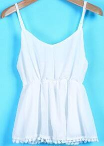 White Spaghetti Strap Twisted Ball Vest