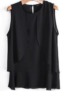 Black Sleeveless Simple Loose Chiffon Vest