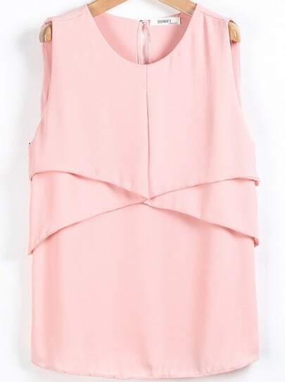 Pink Sleeveless Simple Chiffon Vest