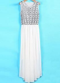White Contrast Lace Sequined Pleated Chiffon Dress
