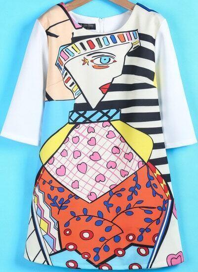 White Half Sleeve Cartoon Girl Print Dress