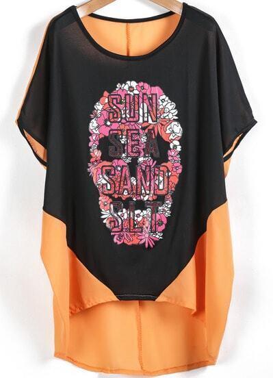 Orange Contrast Black Batwing Sleeve Skull Print Blouse