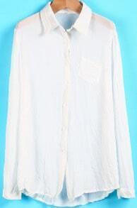 White Lapel Long Sleeve Pocket Chiffon Blouse