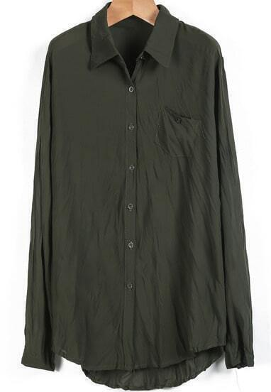 Green Lapel Long Sleeve Pocket Chiffon Blouse