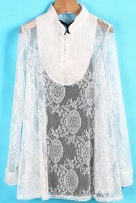 White Stand Collar Long Sleeve Embroidered Lace Blouse
