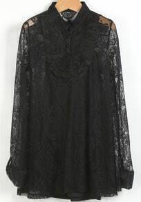 Black Stand Collar Long Sleeve Embroidered Lace Blouse