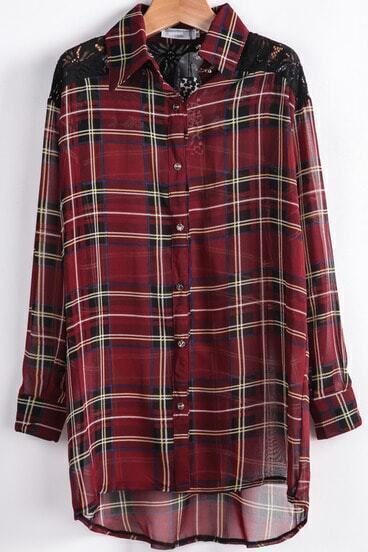 Red Contrast Lace Plaid Chiffon Blouse