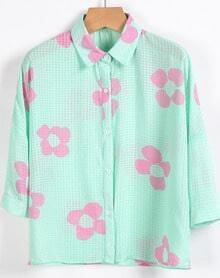 Green Lapel Half Sleeve Floral Chiffon Blouse