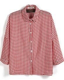 Red Lapel Long Sleeve Plaid Chiffon Blouse