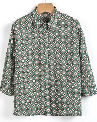 Green Lapel Long Sleeve Geometric Print Chiffon Blouse
