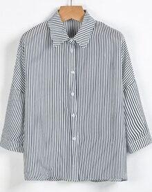 Blue White Vertical Stripe Lapel Chiffon Blouse