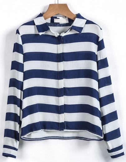 Blue White Striped Long Sleeve Crop Blouse