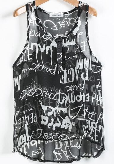 Black Sleeveless Letters Print Dipped Hem Blouse