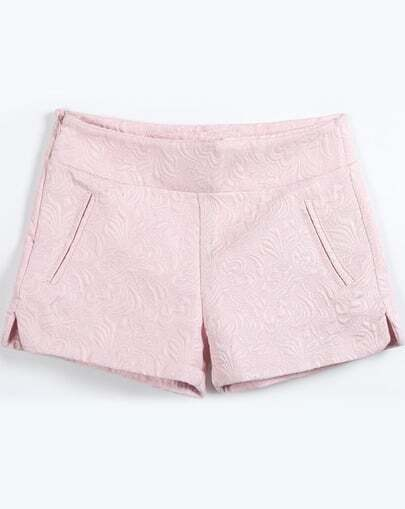 Pink Pockets Jacquard Shorts