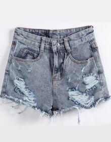 Blue Vintage Ripped Denim Shorts
