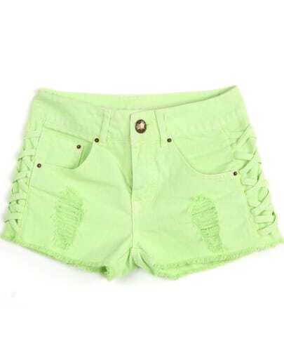Green Ripped Fringe Lacy Denim Shorts