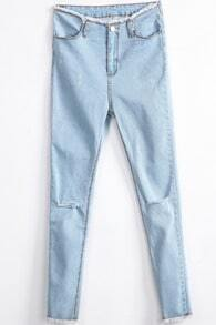 Light Blue Ripped Pockets Denim Pant