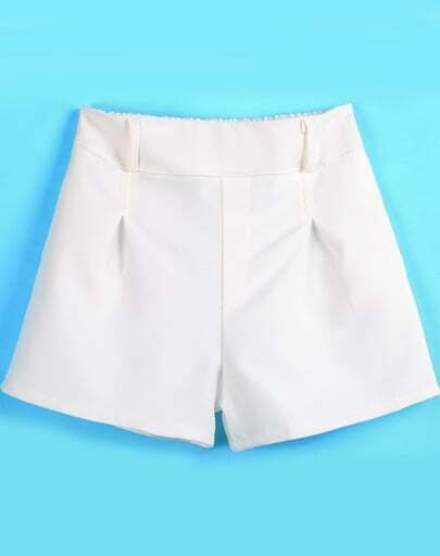 White Elastic Waist Simple Design Shorts